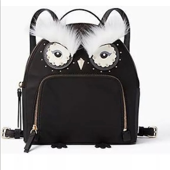 Kate Spade Black Owl Tomi Backpack Small NEW Cute